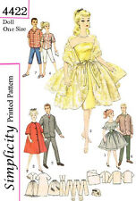 VIntage Barbie and Ken 11 1/2 inch doll clothes sewing patterns