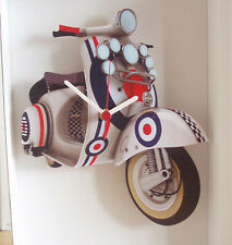Scooter Wall Clock, 60s Mod Target Scooter Wall Clock, GS PX Scooter Wall Clock