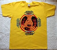 ANTHRAX STATE OF EUPHORIA'88 COVER THRASH METALLICA SLAYER YELLOW T-SHIRT