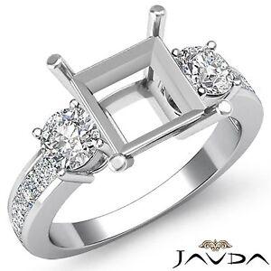 Three 3 Stone Diamond Wedding Unique Ring Round Princess Semi Mount Platinum 1Ct