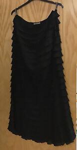 JAEGER Long lean SILK Ruffled SPANISH style VICTORIANA BLACK lined skirt UK16