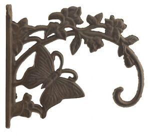 Decorative Butterfly Plant Hanger Bracket Cast Iron Flower Basket Hook