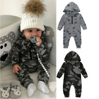Newborn Infant Baby Boys Girls Cute Print Hooded Romper Jumpsuit Clothes Outfits