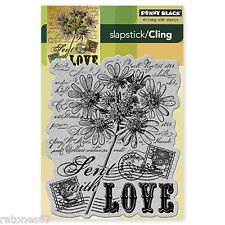 New Penny Black SENT WITH LOVE Slapstick Cling Rubber Stamp Flowers Postage