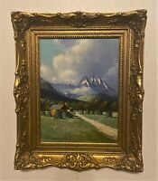 Original Signed Oil On Board German Mountain Landscape Painting - Franz Absmeier