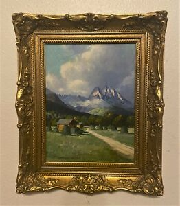 Vintage Signed German Oil On Board Mountain Landscape Painting by Franz Absmeier