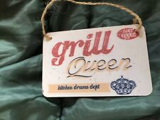 Grill Queen Small Hanging Metal Plaque NEW