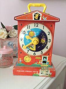 vintage fisher price Music Box Teaching Clock Kitsch Retro Cute Kitschy