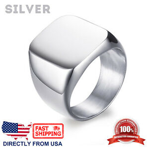 Men's Stainless Steel Classic Polished Signet Ring, Silver, Gold, or Black Color