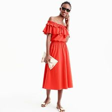 NWT J.Crew Off the Shoulder Ruffle Dress in Fiery Sunset Red Sz XXS