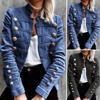 UK Womens Denim Jacket Jeans Coat Party Club Overcoats Long Sleeve Tops Cardigan