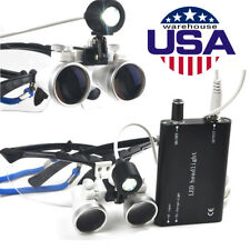 Dental Surgical Binocular Loupes 2.5X 420mm LED Head Light Lamp Magnifying Glass