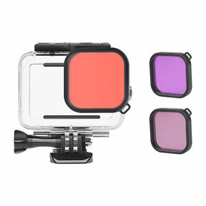 Action Camera Waterproof  + Red  Purple Filter Set Replacement for C8V2