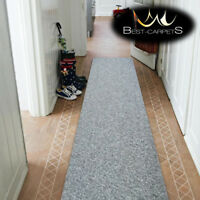 THICK CHEAP RUNNER HALLWAY PLAIN grey 965 CORRIDOR width 50-200 cm RUGS Carpets