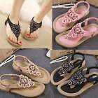 Women Fashion Leather Sandals Flats Summer Rhinestone Flat Heel Flip Flops Shoes