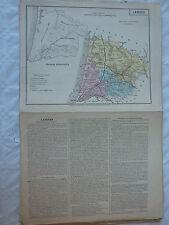 carte scolaire départementale (fin XIX ?) aquarellée / notice - LANDES -
