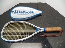 WILSON TEMPEST Racquetball RACQUET with leather handle & COVER Silver used nice!