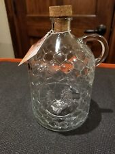 Glass Rooster Jug With Cork Stopper Chicken Wire or Honey Comb pattern.