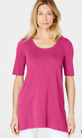 NEW J JILL M L Pima Slub-knit Elbow Sleeve Dipped hem Tunic Knit Angled Pink