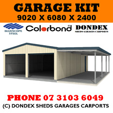 DONDEX SHEDS Double Garage Shed Kit 9x6x2.4 + 3.0m wide awning Colorbond