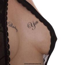 """5 x """"Lucky You"""" Tattoo Schriftzug in schwarz - Sexy Kinky Party Fetish Tattoo"""