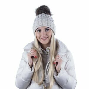 SCJ Damen Bommel-Mütze Winter Strickmütze Fleece-Futter Fellbommel 15566 Gr. UNI