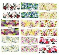 "18 Sets Summertime Flowers Nail Art Stickers Water Decals Transfer C 2.75"" #C"