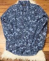 NWT BONOBOS Slim Fit XXL Descending Blue Floral Button Down Dress Shirt