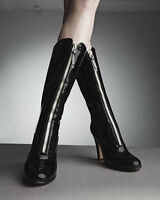 $1795 NIB VALENTINO REBELLE PATENT LEATHER FRONT ZIP BOOTS Size 39 Euro 8.5 US