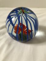 Beautiful Hand Blown Glass Ball with Orange Flower and Green Butterfly