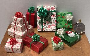 Vintage Artisan Wrapped Christmas Presents Gifts 8PCS Dollhouse Miniature 1:12