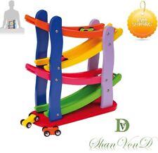 Autism Sensory Toys Wooden Click Clack Racetrack Toy Set Car Slide Spare Cars UK
