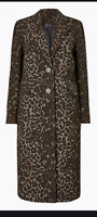 BNWT M&S Size 14 Tailored Jacquard Coat with Wool Leopard Animal On Trend