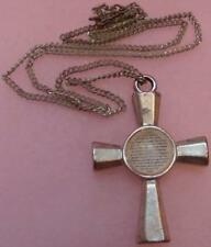 Vintage Cross Necklace With Lords Prayer Under Lucite Dome Signed FAF Inc Loved