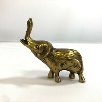 "Vintage Brass Elephant Figurine Small Lucky Trunk Up with Tusks 4"" Decor"