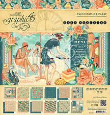 Graphic45 CAFE PARISIAN 12x12 PAPER PAD scrapbooking (24) SHEETS