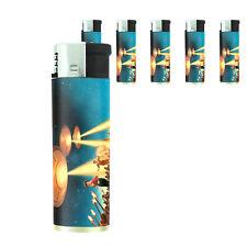 Vintage Alien Abduction D14 Lighters Set of 5 Electronic Refillable Butane