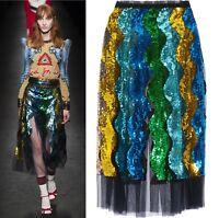 Celebrity Runway Rainbow Ombre Sequin Snake Wave Stripe Tulle Pleat Midi Skirt