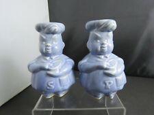 0 Blue Ceramic Large Salt & Pepper Chefs 1950'S Made In Usa