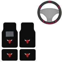 New 5pc NBA Chicago Bulls Car Truck Floor Mats & Steering Wheel Cover Set