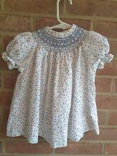 Vintage Smocked Polka Dot Dress Primary colors size