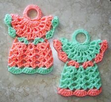 Pair Of Mini Angel Potholders, Crochet, Peach And Mint, New, Handcrafted