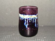 Early Drew Smith 1976 Iridescent Signed Studio Art Glass Cup Vase Purple