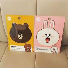 Korea LINE Friends Cute Brown Cony 2 Face Mug Cup Coaster Set Mascot Gift