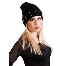 Womens,ladies & mens slouch beanie hat with Decent studs black grey brown purple