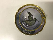 RARE Antique Ambrosius Lamm Dresden Porcelain Cup Saucer Bird Dec. Signed Ander