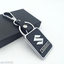 BLACK Leather Metal CAR Logo Key chain Keyring pendant key holder FOR SUZUKI
