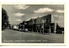 Main Street Scene-Downtown Stores-Mountain Home-Idaho-1947 B/W Vintage Postcard