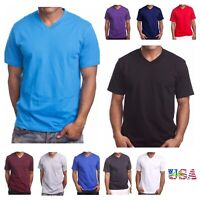 Men's T-Shirt HEAVY WEIGHT Plain V-Neck BIG AND TALL Hip Hop GYM Casual Tee