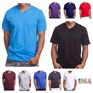 Men's T-Shirt HEAVY WEIGHT Plain V-Neck BIG AND TALL Hipster GYM Casual Tee